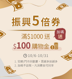 1006 「振興五倍券」滿千送100