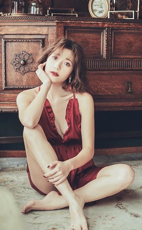 奶油夢境 緞面美背連身睡衣褲裙 FREE anSubRosa - 紅色