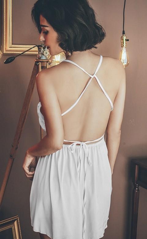 奶油夢境 緞面美背連身睡衣褲裙 FREE anSubRosa - 白色