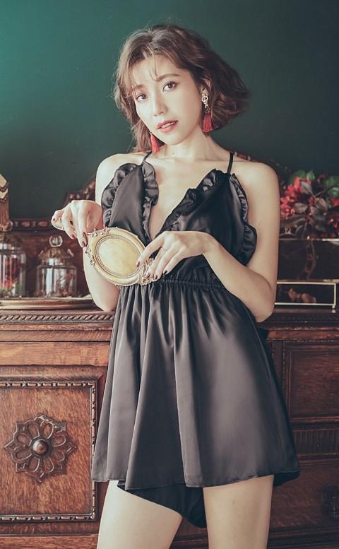 奶油夢境 緞面美背連身睡衣褲裙 FREE anSubRosa - 黑色