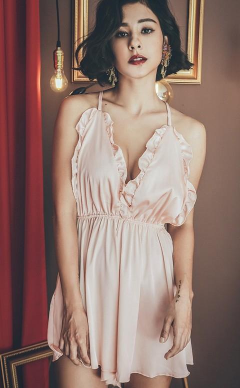 奶油夢境 緞面美背連身睡衣褲裙 FREE anSubRosa - 粉色