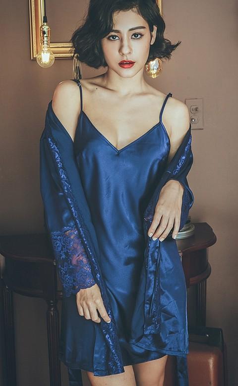 唯夜之戀 質感緞面綁帶成套睡衣 M-L anSubRosa - 藍色