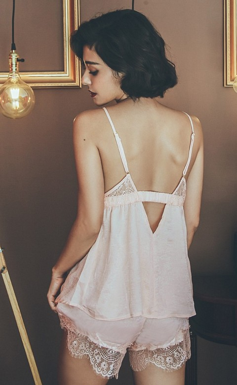 冰光之歌 奢華光澤絨兩件式成套睡衣 FREE anSubRosa - 粉色