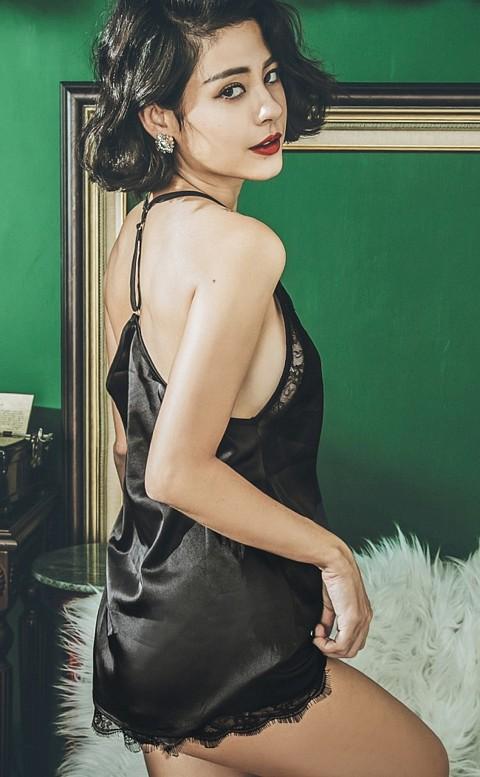 巴黎女伶 絲緞光蕾絲兩件式成套睡衣 FREE anSubRosa - 黑色