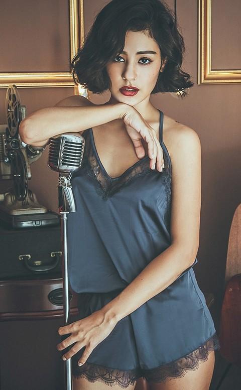 巴黎女伶 絲緞光蕾絲兩件式成套睡衣 FREE anSubRosa - 深藍