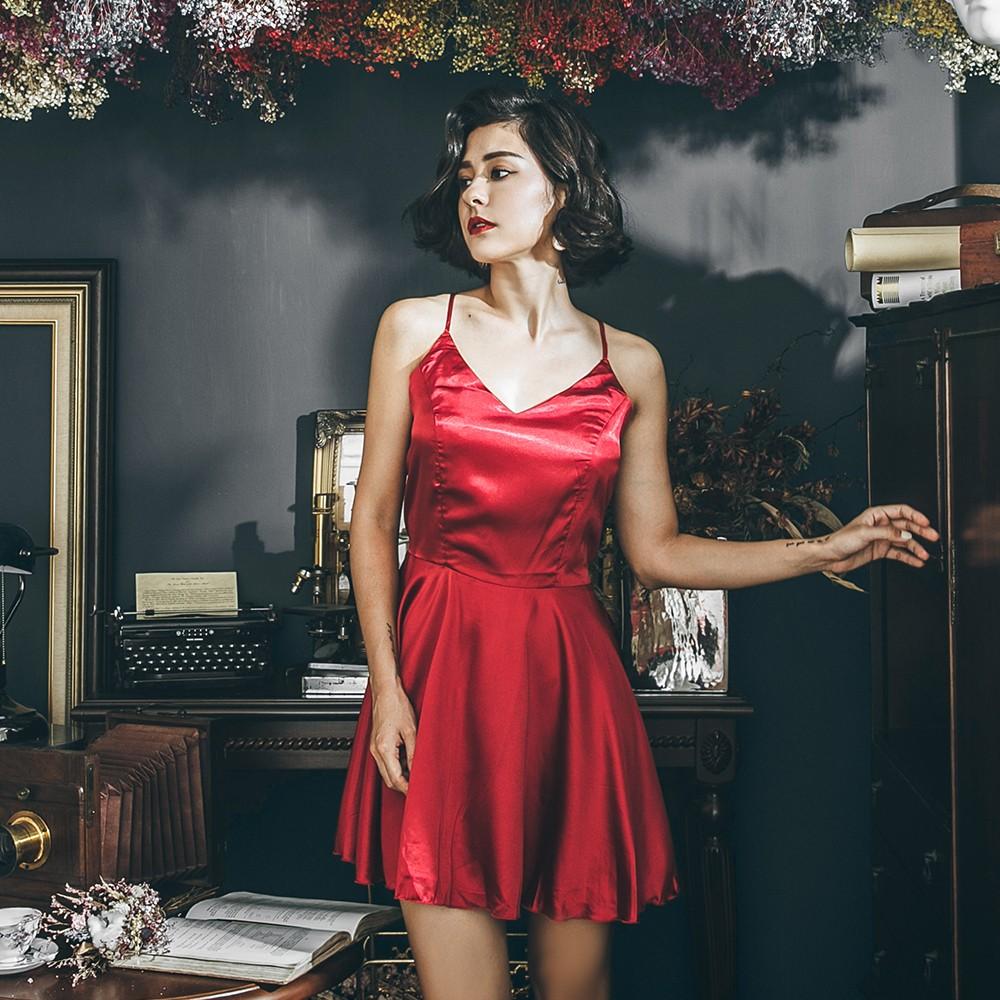 異國玫瑰 質感緞面美背綁帶睡衣 FREE anSubRosa,連身睡衣,性感睡衣,緞面,,SR181730