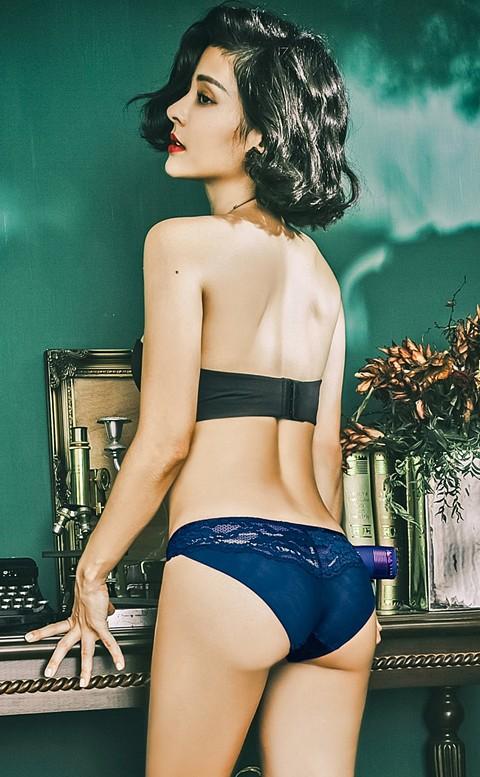詩人漫步  優雅網紗拼接蕾絲內褲 S-XL anSubRosa - 藍色