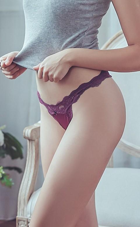 芭蕾舞者 性感蕾絲鏤空丁字褲 M-L anSubRosa - 紫色