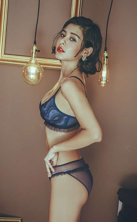 人魚光影 荷葉蕾絲無襯成套內衣褲 S-L anSubRosa - 藍色
