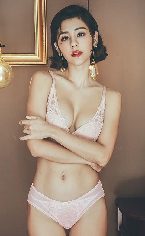 香格里拉 優雅蕾絲無鋼圈成套內衣褲 A-C anSubRosa - 粉色
