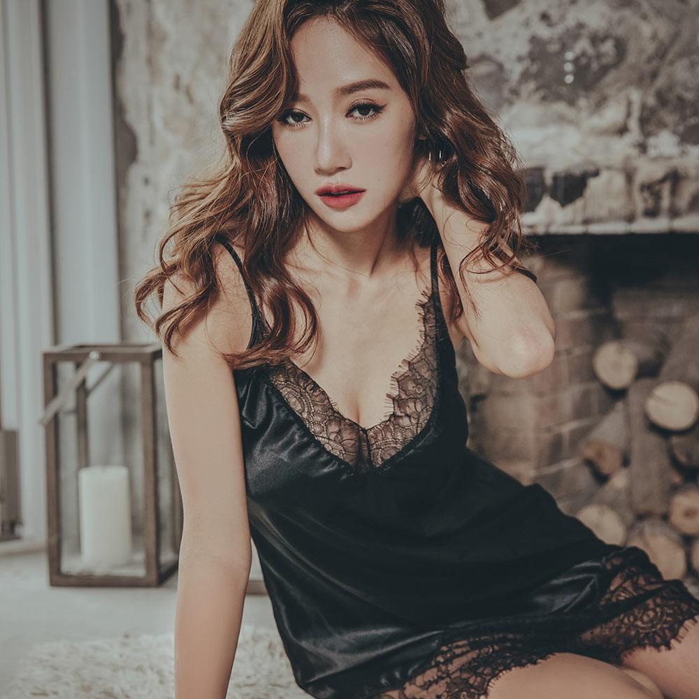 星辰倒數 優雅緞面蕾絲連身睡衣 FREE anSubRosa,連身睡衣,性感睡衣,緞面,睫毛蕾絲,