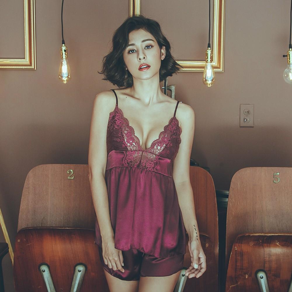 加州夜曲 深V緞面兩件式成套睡衣 FREE anSubRosa,成套睡衣,居家服,緞面,,SR181960