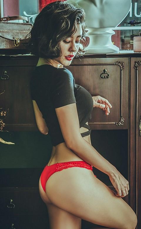 玩美女郎  彈性蕾絲丁字褲 FREE anSubRosa - 紅色