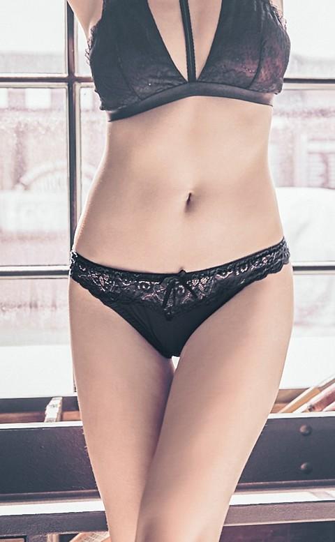 玩美女郎  彈性蕾絲丁字褲 FREE anSubRosa - 黑色