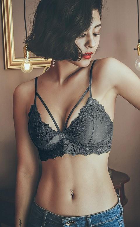 靜謐水仙 精緻蕾絲無襯內衣 S-L anSubRosa - 黑色