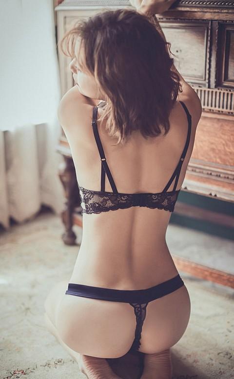 玫瑰禁忌 時尚性感蕾絲丁字褲 M-L anSubRosa - 深藍