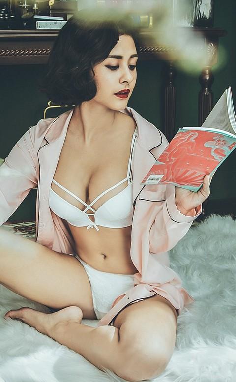 水漾情緣 俏麗爆乳無鋼圈成套內衣褲 B-C anSubRosa - 白色