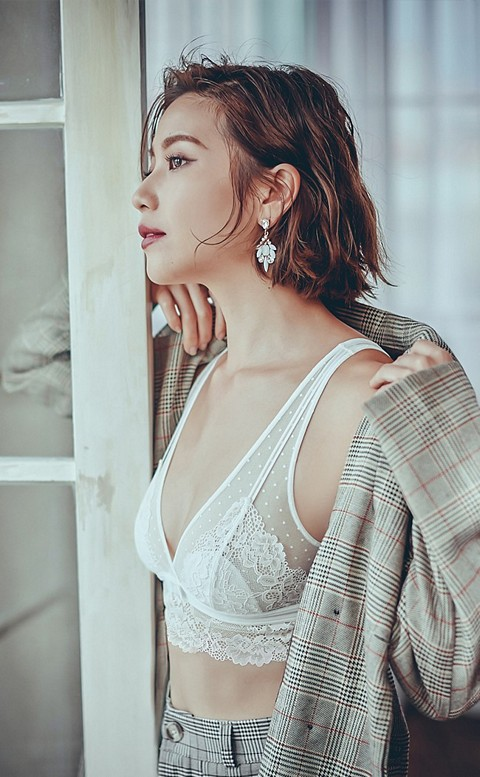 天使臉孔 法式性感蕾絲無鋼圈成套內衣褲 S-L anSubRosa - 白色