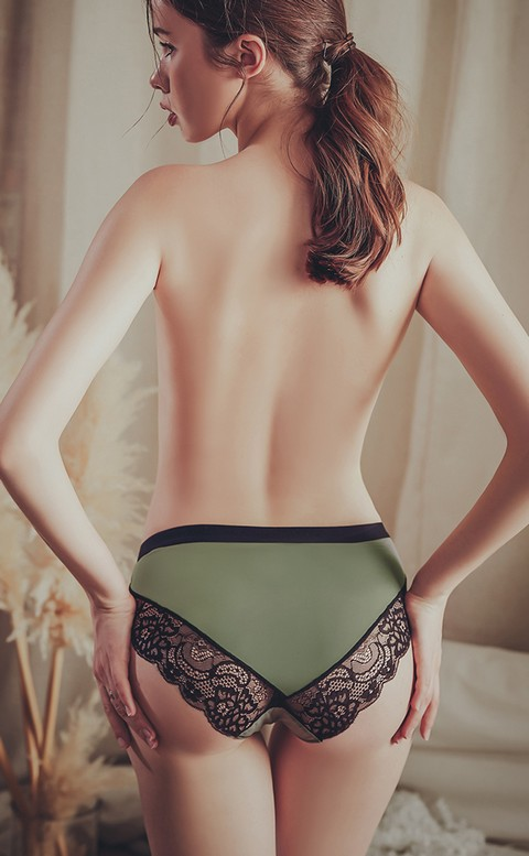 律動新旋律 柔滑牛奶絲蕾絲內褲 M-2XL anSubRosa - 綠色