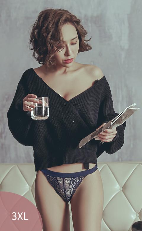慾望夜暮 性感透膚蕾絲無痕內褲 M-5XL anSubRosa - 藍色