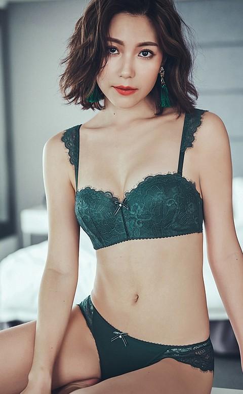 微醺雞尾酒 平口半罩成套內衣褲 A-C anSubRosa - 綠色