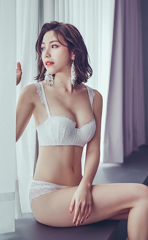 微醺雞尾酒 平口半罩成套內衣褲 A-C anSubRosa - 白色