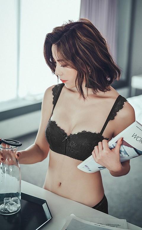 微醺雞尾酒 平口半罩成套內衣褲 A-C anSubRosa - 黑色