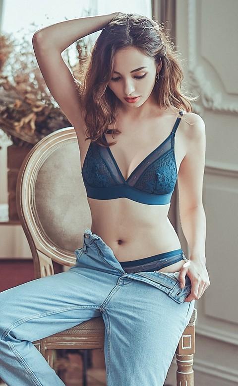 高跟鞋女爵 法式蕾絲無襯成套內衣褲  S-XL anSubRosa - 藍綠