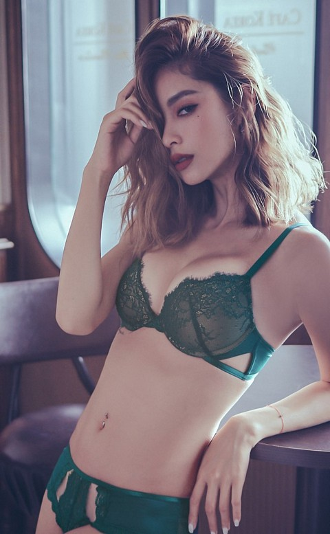 優雅女爵 深V軟鋼圈成套內衣褲 A-B anSubRosa - 綠色