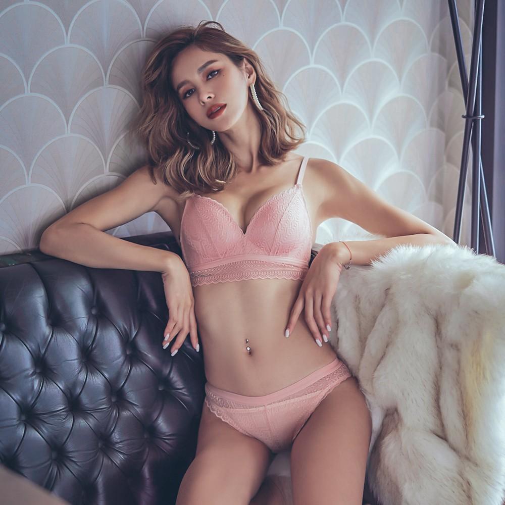 神秘藏紅花 浪漫蕾絲成套內衣褲 S-XL anSubRosa,下厚上薄內衣,無鋼圈,成套內衣褲,蕾絲內衣,