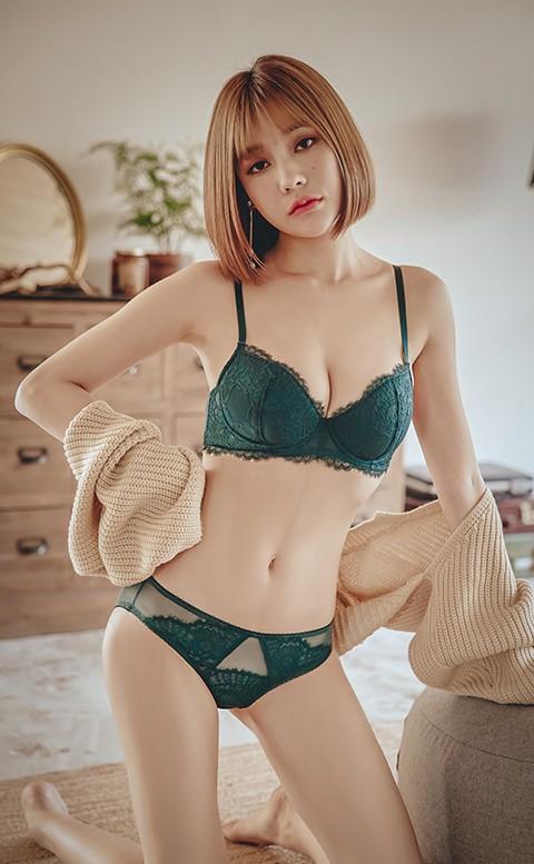 刺蝟的優雅 均薄杯J鋼圈內衣褲 A-E anSubRosa - 綠色