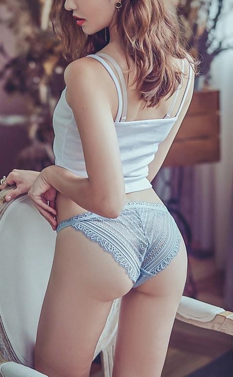 高調定律 蕾絲蜜桃臀低腰內褲 M-L anSubRosa - 藍色