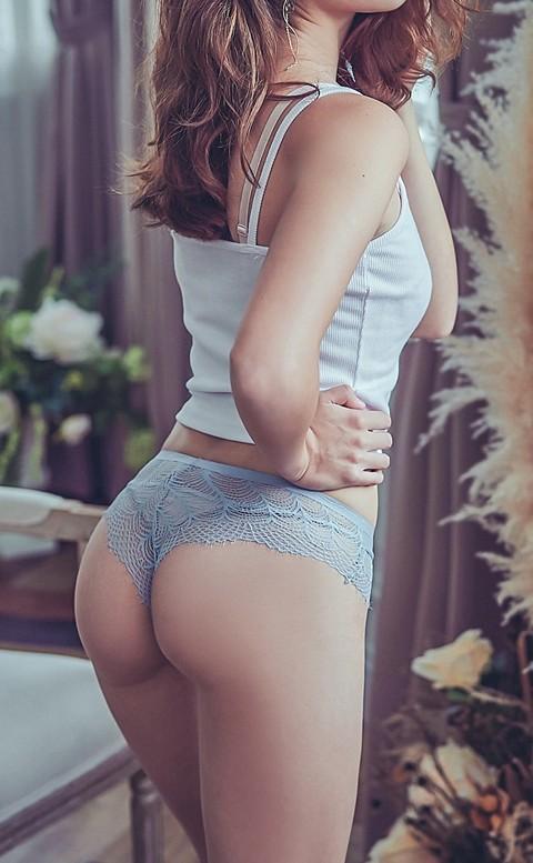 指尖的節奏 透膚蕾絲丁字褲 M-L anSubRosa - 藍色