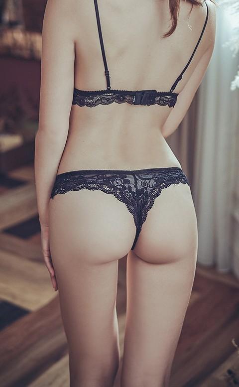 調情電波 彈性蕾絲丁字褲 FREE anSubRosa - 黑色