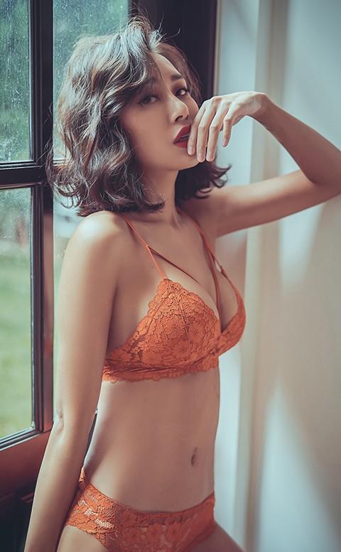 性感絕對值 薄杯無鋼圈成套內衣褲 S-XL anSubRosa - 橘色