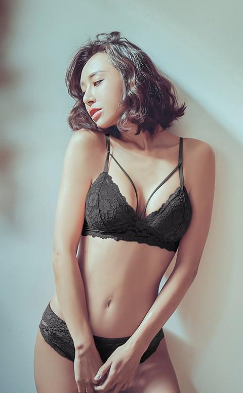 性感絕對值 薄杯無鋼圈成套內衣褲 S-XL anSubRosa - 黑色