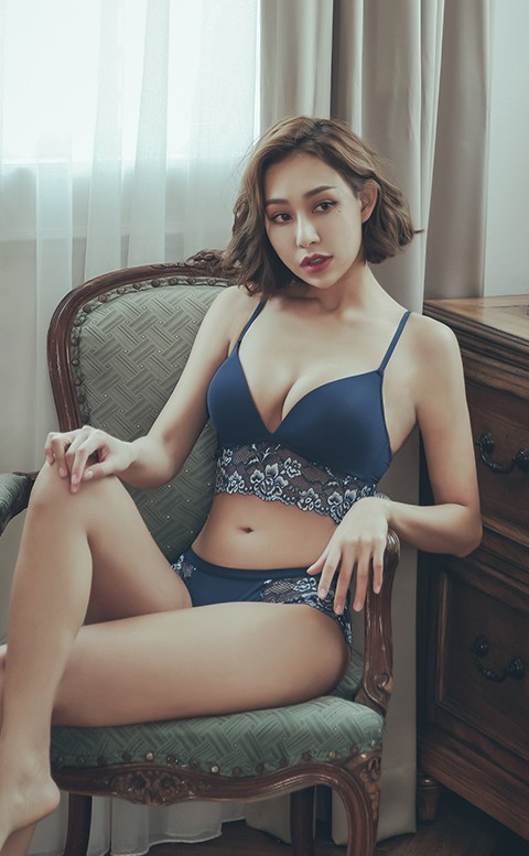 梅根之約 蕾絲薄襯無鋼圈內衣褲 A-C anSubRosa - 藍色