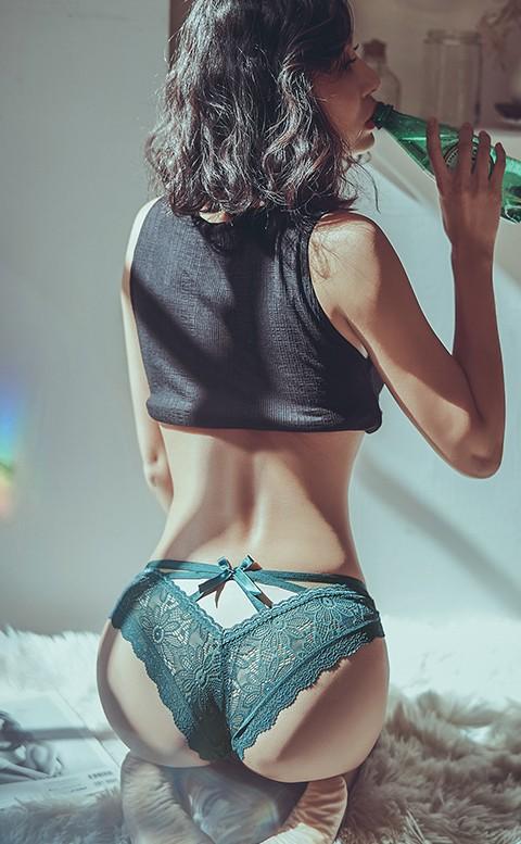 迷人誘惑 蕾絲蜜桃臀低腰內褲 S-XL anSubRosa - 綠色