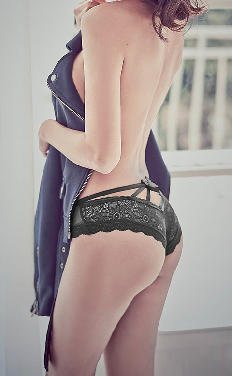 迷人誘惑 蕾絲蜜桃臀低腰內褲 S-XL anSubRosa - 黑色