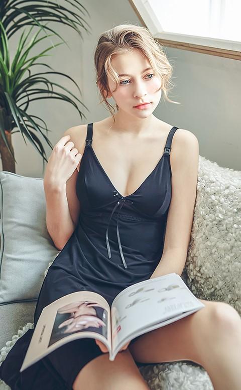 清涼水漾 無鋼圈肩開式哺乳背心 L-XL Leinear - 黑色
