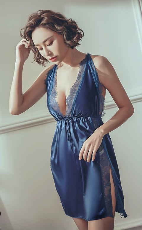 狂歡之夜 睫毛蕾絲緞面睡衣 FREE anSubRosa - 藍綠