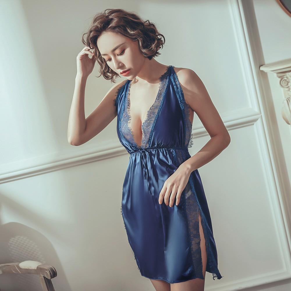 狂歡之夜 睫毛蕾絲緞面睡衣 FREE anSubRosa,連身睡衣,性感睡衣,絲滑緞面,睫毛蕾絲,