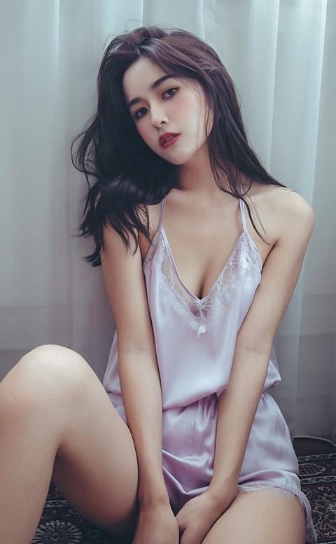 比佛利女伶 絲緞蕾絲Y字美背睡衣褲 M-2XL anSubRosa - 粉紫