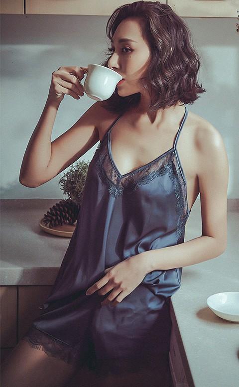 比佛利女伶 絲緞蕾絲Y字美背睡衣褲 M-2XL anSubRosa - 灰藍