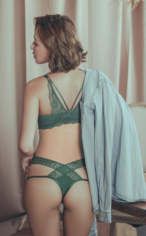 火辣唇印 性感交叉褲頭丁字褲 M-L anSubRosa - 綠色