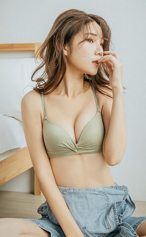 戀戀棉花糖 扭結美背無鋼圈內衣 A-B nalla - 綠色