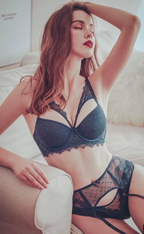 女王氣場 性感半罩成套內衣褲 A-D anSubRosa - 深藍