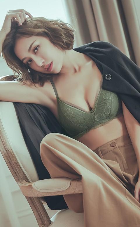 熱戀薰心 薄襯無鋼圈成套內衣褲 S-XL anSubRosa - 綠色
