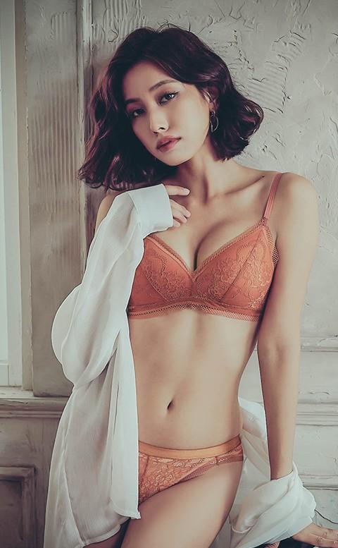 熱戀薰心 薄襯無鋼圈成套內衣褲 S-XL anSubRosa - 橘色
