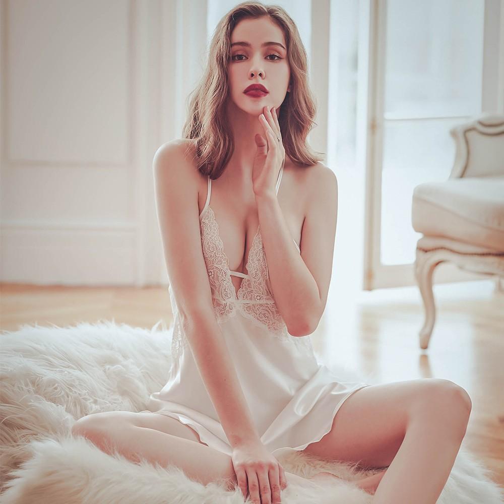 澄光醉心 性感無襯蕾絲緞面睡衣 FREE anSubRosa,連身睡衣,性感睡衣,絲滑緞面,蕾絲睡衣,